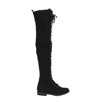 FINAL SALE - Black Over The Knee Lace Up Boots