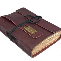 Burgundy Leather Journal with Tea Stained Pages and Bookmark