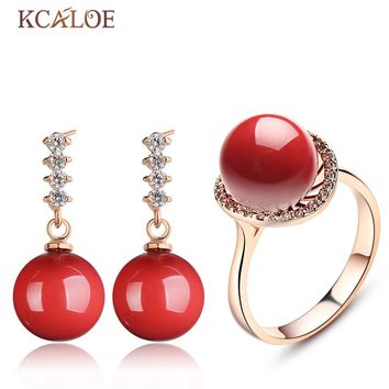 KCALOE Fine Red Jewerly Sets For Women Fashion Crystal Rhinestone Rose Gold Color Earrings Ring Simulated Coral Jewellery Set