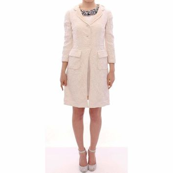 Dolce & Gabbana White Brocade Jaquard Long Jacket Coat Blazer