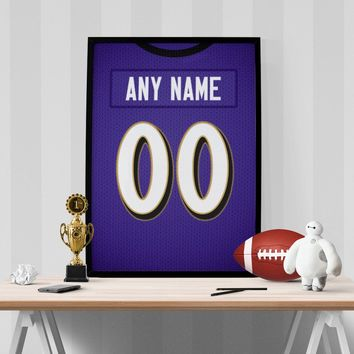 Baltimore Ravens Jersey Poster - Print Personalized Select ANY Name & ANY Number