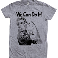 Rosie the Riveter Tshirt WW2 We Can Do it   Hand Screen Print American Apparel Crew Neck Tshirt Available: S, M, L, XL 12 Color