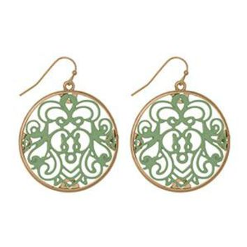 Gold Earrings with Mint Filigree Design
