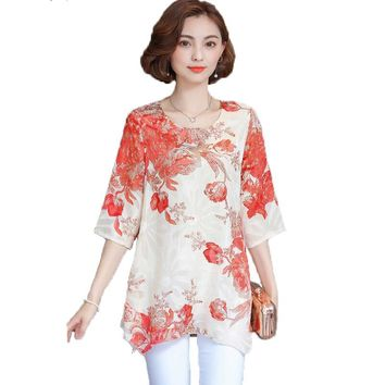 Women Blouses And Shirts 2018 casual half Sleeve fashion floral print Chiffon Blouse Plus Size Ladies Tops  Shirt kimono M-4XL