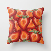Summer Strawberries Throw Pillow by Raven Krupnow
