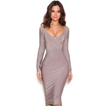 Calvi grey long sleeve cut out bandage dress