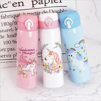 500ml Water Bottles Capacity Drinking Water Cartoon Unicorn Stainless Steel Vacuum Flasks Water Bottle Kitchen for Children,W