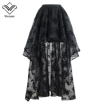 Wechery New Long Maxi Steampunk Elastic Skirts Women Pluse Size Tulle Skirt Ruffled Mesh Lace Midi Gothic Corset Pleated Skirts