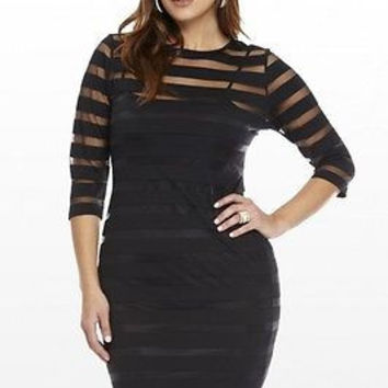 Plus Size Women  Three Quarter Sleeve Sexy Party see through Hollow Out Sheath Evening Mini Dress