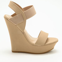 NUDE BANDED WEDGES