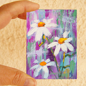 Original ACEO painting - Miniature art trading card, original ATC, 2.5 by 3.5 in - Daisies 1 watercolour, gouache floral daisy painting, SFA