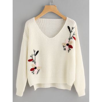 Flower Embroidered Dip Hem Jumper