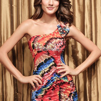 Summer Hot 2013 Fashion Sexy Slim Lace One Shoulder Colorful Floral Print Backless Designer Evening Cocktail Party Women Dresses XH8-623