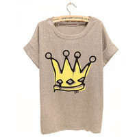 Big Royal Crown Watercolor T-shirt For Women from Summer Trip