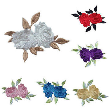 Rose Flower Leaves Embroidery Iron On Applique Patch HU