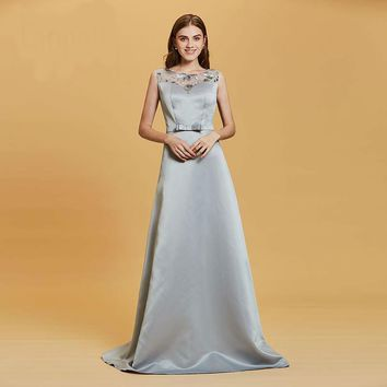 Lace sequins evening dress silver scoop neck floor length a line gown women sleeveless formal party long evening dresses