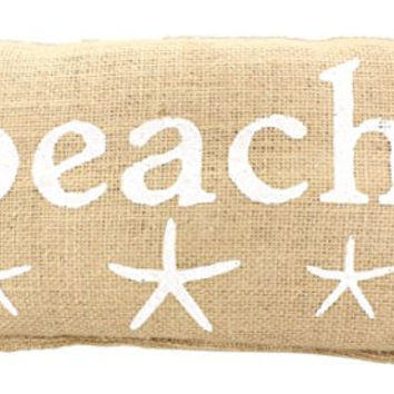 """BEACH"" French Country Burlap Accent Pillow - White Print with Starfish - 6-in x 12-in"