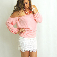 Wisteria Lane Off the Shoulder Blouse - Blush Pink -  $35.00   Daily Chic Tops   International Shipping