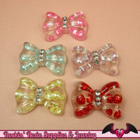 5 pc PEARL BOWS with CRYSTALS Resin Decoden Flatback Kawaii Cabochons 34x24mm