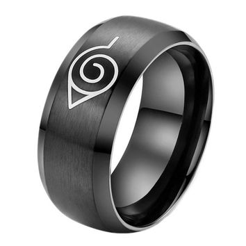 [flash 2015 Men's Fashion Rings Unique Design Naruto Cartoon Character Logo Ring Titanium Steel Ring = 5988055297