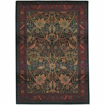 Kharma Red Blue Floral  Traditional Rug