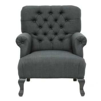 York Grey Linen Club Chair