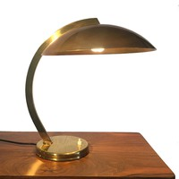 Vintage French Deco Desk Lamp with Domed Metal Shade - Brass