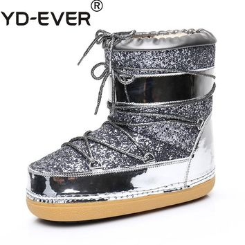 YD-EVER  Brand real fur Winter boots Women Ankle snow Boots Plush Warm wool fur Boots shiny fashion Ladies Shoes