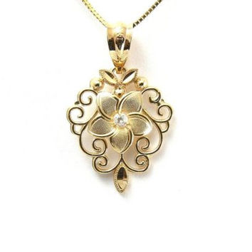 14K SOLID YELLOW GOLD HAWAIIAN PLUMERIA TROPICAL FLOWER FILIGREE PENDANT CZ