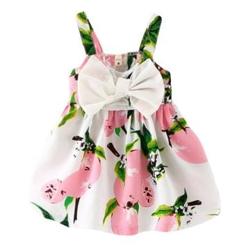 Baby Girls Summer Dress Infant Bow Sleeveless Toddler Girls Birthday Party Dresses Baby Clothing Vestido Infantil