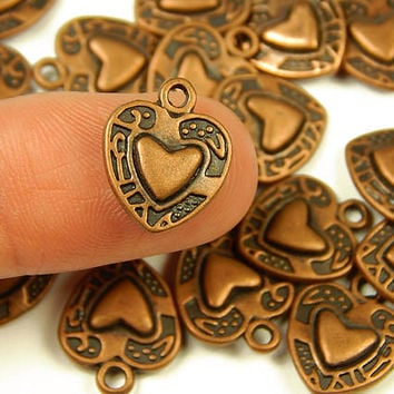10 Pcs - 15x12mm Tiny Antique Copper Heart Charms - Tiny Charms - Jewelry Supplies