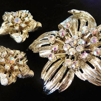 1950s CORO Demi Parure Rhinestone Brooch Earrings Set AB Aurora Borealis Mid Century High Fashion Designer Jewelry Autumn Fall Christmas