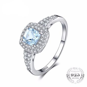 Cushion Cut 0.9 ct, Natural Aquamarine Halo Engagement Ring 925 Sterling Silver Jewelry Engagement Rings For Women