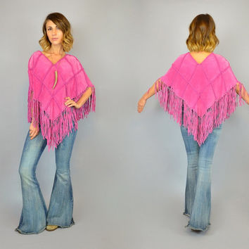vtg 80s PINK SUEDE bohemian hippie western draped v-neck PATCHWORK Fringed poncho cape, one size fits most