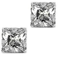 Clear Diamond CZ Square Princess Cut Magnetic Men Stud Sterling Silver Earrings 5mm