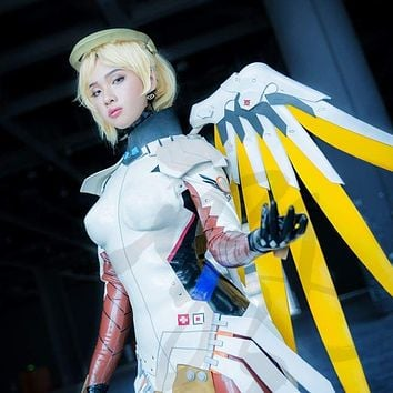 New OW Game Mercy Angela Ziegler Latex Clothes Custom Made Cosplay Costume Highly Reductive  F Macchar Cosplay Catalogue