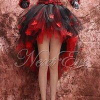 Retro Black and Red Scoop Neck High Low Soft Net Short Prom Dress