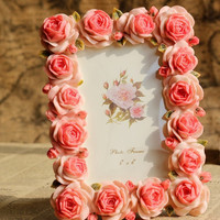 Retro Vintage Blossom Pink Rose Flower Home Decor Picture Frame Photo Frame Resin 4''*6''