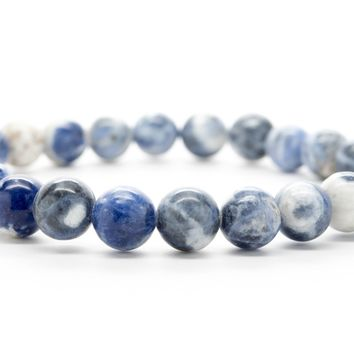 Blue and White Jasper Gemstones Beaded Bracelet for Men and Women