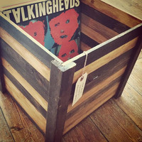 Stackable Record Crate or Vinyl Storage Crate, Espresso and Honey Stained Wood