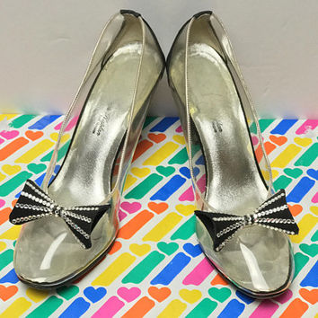 Adorable NORMAN KAPLAN Las Vegas Pumps / Clear PVC Mary Jane Heels / Rhinestone Embellished Black Bows / Vintage Translucent High Heel Shoes