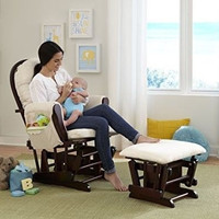 Baby Nursery Furniture Rocking Glider Wood Chair Ottoman Set Cushion Seat Beige