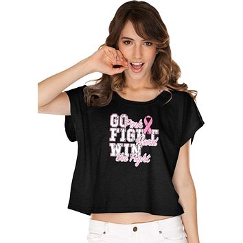 Ladies Breast Cancer T-shirt Go Fight Win Boxy Tee
