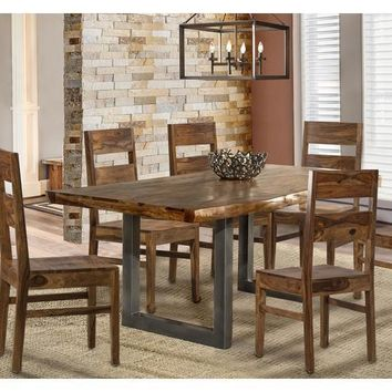 102039 Emerson Rectangle Dining Set With Wood Chairs - Natural Sheesham