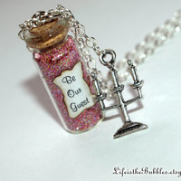 Beauty and the Beast, Be Our Guest Magical Necklace with a Candelabra Charm, Disney inspired by Life is the Bubbles