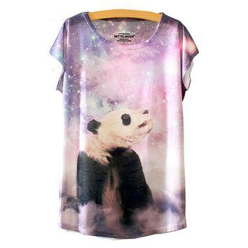 Galaxy Panda Watercolor Loose Flowy T-Shirts