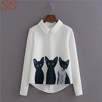 2017 Summer Women Blouses Fashion Cartoon Cat Long Sleeve Casual Chiffon Blouse Sexy Female Shirts New Arrival Women Clothings