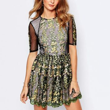 Millie Mackintosh Embroidered Mini Dress With Sheer Details at asos.com