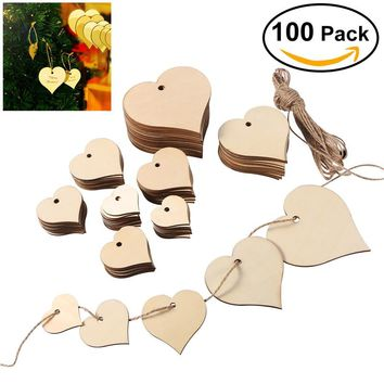 ULTNICE 100pcs Heart Shaped Wood Slices with 10M Natural Twine for Wedding Embellishments DIY Arts Crafts Card Making