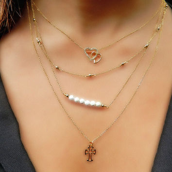 Layered Thin Gold Necklace Set of 4, Dainty Necklace Set, 14kt Gold Fill Necklace, Tiny Gold Necklaces, Heart Pendant Necklace, Gold Cross